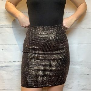 Black & Rose Gold Glitter Mini Skirt